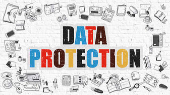 Data Protection Concept. Modern Line Style Illustration. Multicolor Data Protection Drawn on White Brick Wall. Doodle Icons. Doodle Design Style of Data Protection Concept.-2
